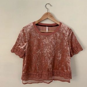 Mauve velvet and lace shirt